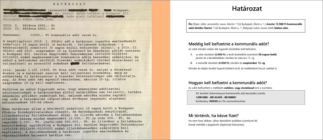 egy összefolyó szöveg és átdolgozott változata